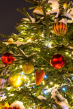 Christmas Tree with decorations and Cristmas Toys. Royalty Free Stock Photo