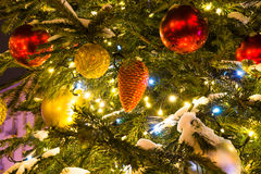 Christmas Tree with decorations and Cristmas Toys. Royalty Free Stock Image