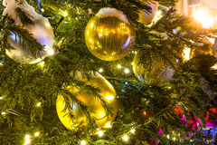 Christmas Tree with decorations and Cristmas Toys. Stock Image