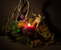 Christmas tree and decorations, decorated candles and driftwood. Royalty Free Stock Photos