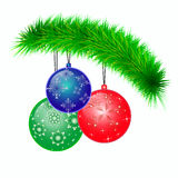 Christmas tree. Decorations on a fir-tree branch Royalty Free Stock Photo