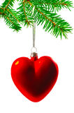 Christmas tree decorations in the form of heart Royalty Free Stock Photo