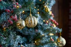 Christmas-tree decorations on a christmas fur-tree. close-up stock photography