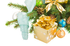 Christmas tree and  decorations with gift box Royalty Free Stock Images