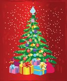 Christmas tree with decorations and gift boxes. Holiday background. Merry Christmas and Happy New Year. Vector illustration - Vect. Or royalty free illustration