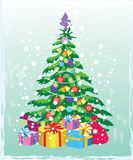 Christmas tree with decorations and gift boxes. Holiday background. Merry Christmas and Happy New Year. Vector illustration Chris. Tmas tree with decorations and stock illustration