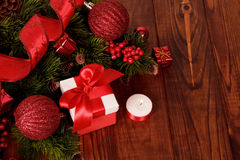 Christmas tree with decorations and gift Stock Photo