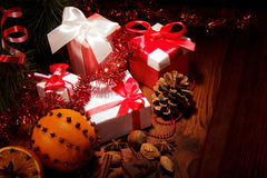 Christmas tree with decorations and gifts Royalty Free Stock Image