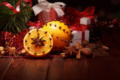 Christmas tree with decorations and gifts Royalty Free Stock Photo