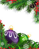 Christmas tree decorations with green ribbon. Christmas baubles with ribbon and fir tree branches on white background Stock Image