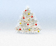 Christmas tree with decorations Greeting Card Royalty Free Stock Photography