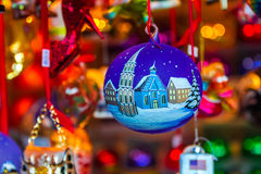 Christmas tree decorations- hand-painted boubles Stock Photos