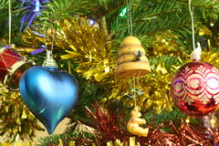 Christmas tree decorations. Hanging on a tree Royalty Free Stock Photo