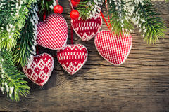 Christmas tree decorations hanging on branch Royalty Free Stock Image