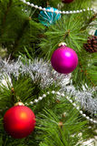 Christmas-tree decorations happy christmas Stock Images