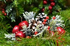 Christmas tree and Christmas decorations. stock photo