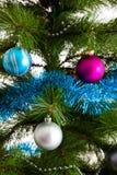 Christmas-tree decorations happy new year. Christmas-tree decorations xmas postcard concept Stock Image