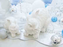 Christmas tree decorations and hares Royalty Free Stock Images