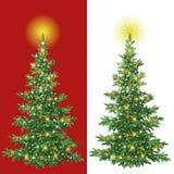Christmas tree with decorations. Christmas holiday fir tree with decorations: stars, isolated. Eps10, contains transparencies Stock Photo