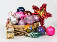Christmas-tree decorations by a holiday. On a light background Stock Photo