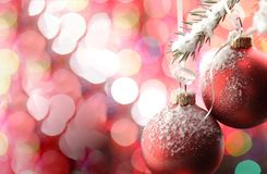 Christmas Tree and decorations on illuminations background. Space for lettering stock photo