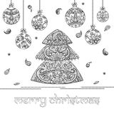 Christmas tree and decorations with indian floral paisley patter Royalty Free Stock Photos