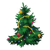 Christmas tree with decorations, isolated vector. Christmas fir tree with decorations, isolated vector Stock Photo