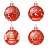 Christmas tree decorations isolated on white background vector illustration set. Winter Holidays and Celebrations. Concept. Balls red realistic balls, with a vector illustration