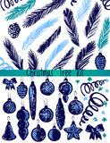 Christmas Tree Decorations Kit. Ink hand drawn christmas decorations Stock Photography