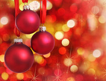 Christmas tree decorations on lights background Royalty Free Stock Photo