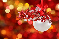 Christmas tree decorations on lights background Stock Image