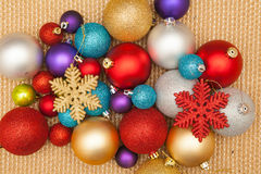 Christmas tree decorations, lights background Stock Photos