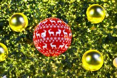 Christmas tree and decorations and lights Royalty Free Stock Images
