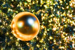 Christmas tree and decorations and lights Stock Images