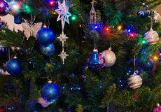 Christmas tree with decorations and lights Royalty Free Stock Photo