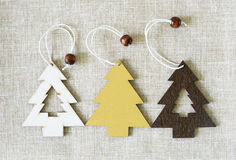 Christmas tree decorations linen background Royalty Free Stock Photo