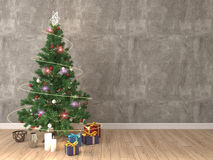 Christmas tree with decorations in the living room. 3d illustration.  stock illustration