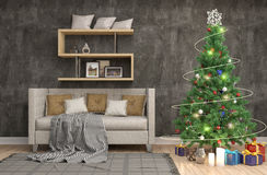 Christmas tree with decorations in the living room. 3d illustrat Royalty Free Stock Images