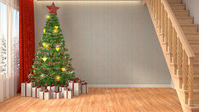 Christmas tree with decorations in the living room. 3d illustrat. Ion Royalty Free Stock Image
