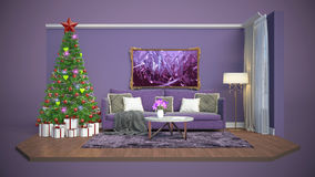 Christmas tree with decorations in the living room. 3d illustrat Royalty Free Stock Photos
