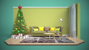 Christmas tree with decorations in the living room. 3d illustrat Stock Images