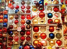 Christmas tree decorations. A market in Italy with some Christmas tree decorations royalty free stock image
