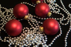 Christmas-tree decorations New Year Red Christmas balls Royalty Free Stock Photo