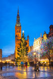 Christmas tree and decorations in old town of Gdansk Stock Photos