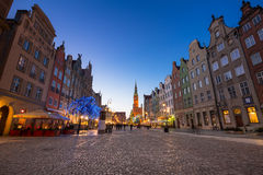 Christmas tree and decorations in old town of Gdansk Stock Photography