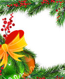 Christmas tree decorations with orange bow. Christmas baubles with bow and fir tree branches on white background Royalty Free Stock Photography