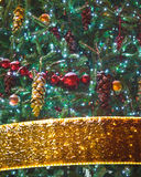 Christmas tree decorations with ornaments and ribbons Royalty Free Stock Photo