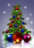 Christmas tree with decorations. Christmas tree with ornaments, vector art illustration Stock Photography