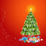 Christmas Tree with Decorations and Presents on Re. Christmas Tree with Lights Decorations and Presents on red background EPS10 royalty free illustration