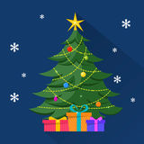 Christmas Tree with decorations and presents under it. Merry Christmas and Happy New Year illustration royalty free illustration